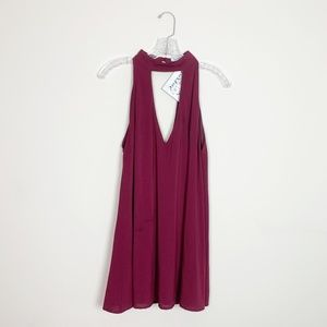 Tobi | hi neck tunic top maroon red size small